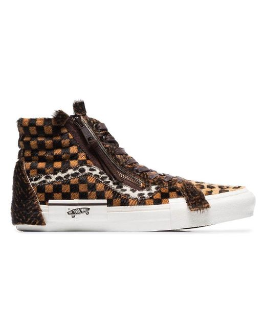 1003e561071d5b Vans - Multicolor Sk8-hi Animal Print Checked Sneakers for Men - Lyst ...