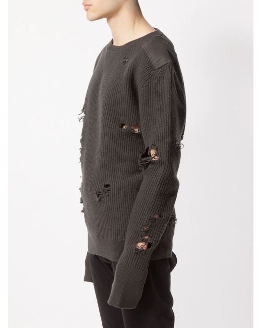 Yeezy Distressed Knit Sweater In Black For Men Lyst