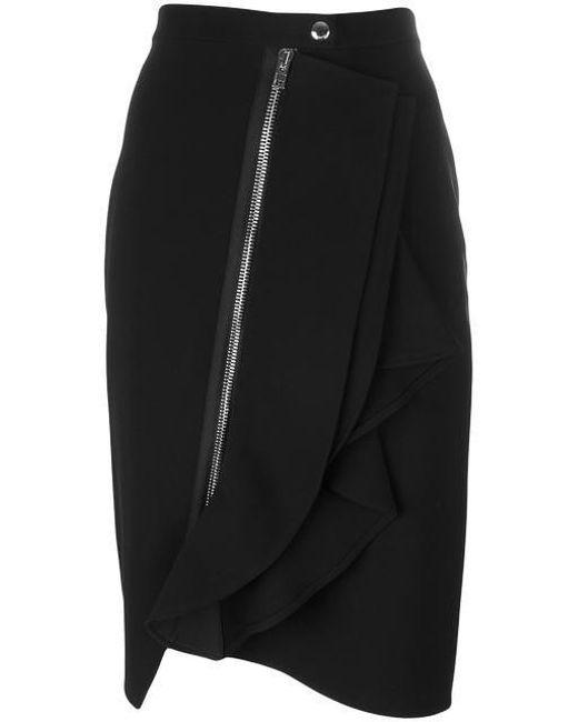 Givenchy   Black Asymmetric Ruffle Trim Skirt   Lyst