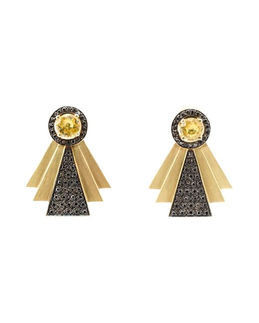 Ileana Makri   Metallic Solitaire 18-karat Gold Diamond Earrings   Lyst