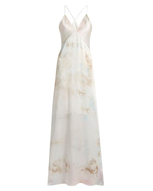 Galvan | Multicolor Tie-dye V-neck Sleeveless Silk-satin Gown | Lyst
