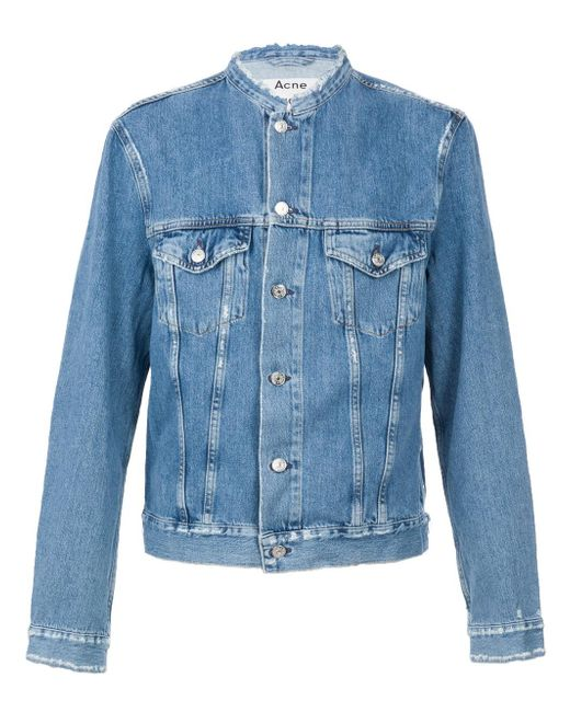 Acne | Blue 'who Ind Frey' Distressed Denim Jacket for Men | Lyst