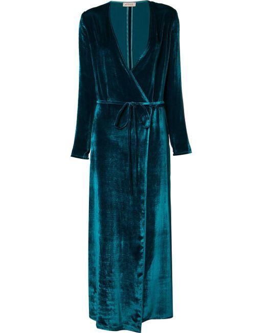 Attico Velvet Robe Dress In Blue Lyst
