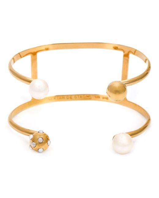 Nektar De Stagni | Metallic Pearl Detail Double Cuff | Lyst