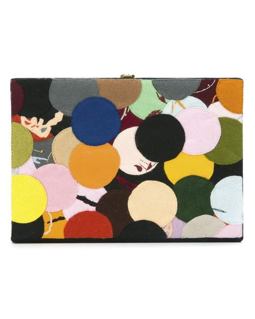 Olympia Le-Tan - Multicolor Dotted Felt Patch Book Clutch - Lyst
