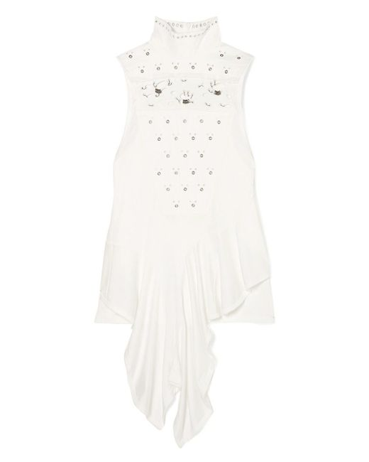 Chloé - White Embellished Broderie Turtleneck Top - Lyst