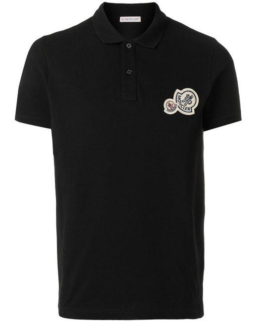 Moncler - Black Logo Polo Top for Men - Lyst