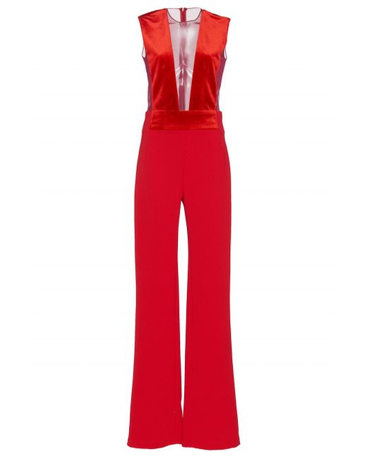 Galvan - Red Velvet Gwyneth Jumpsuit - Lyst