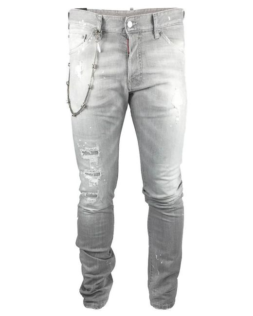 DSquared² | Gray Chained Stretch Denim for Men | Lyst