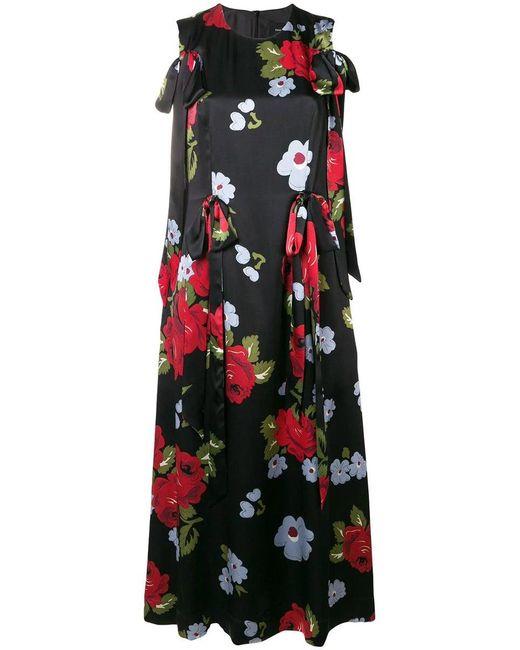 Simone Rocha - Black Floral-printed Silk Midi Dress - Lyst
