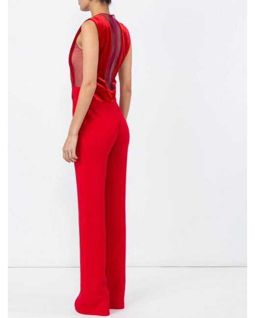 d362a332381a Lyst - Galvan London Velvet Gwyneth Jumpsuit in Red