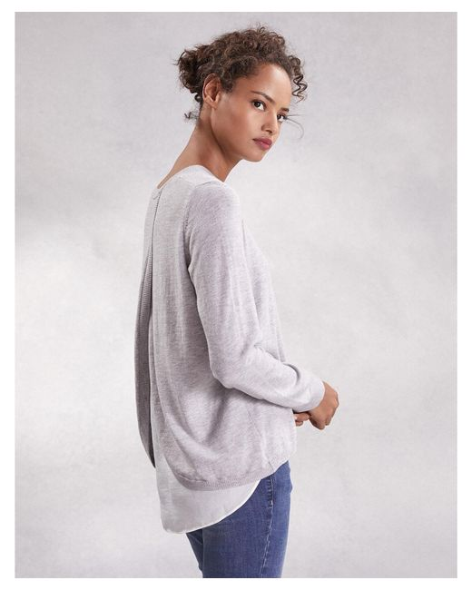 The White Company Gray Cotton-rich Woven Layer Sweater