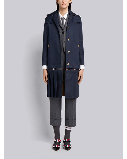 Buy Cheap Fake Low Slung-Pleated Bal Collar Overcoat In Mackintosh - Blue Thom Browne Outlet 2018 New Amazon DoHREVS