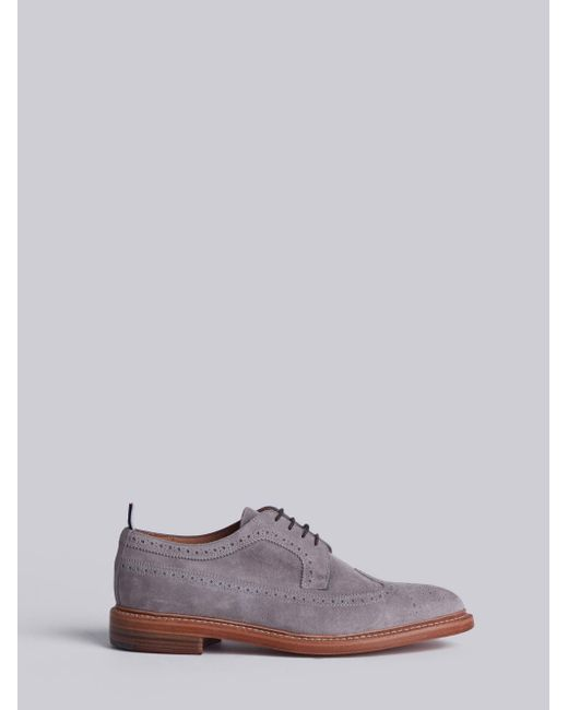 Thom BrowneClassic Longwing Brogue With Leather Sole In Perforated Calf Leather