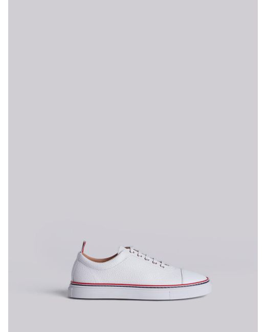 Thom Browne - White Tennis Collection Straight Toe Cap Trainer - Lyst