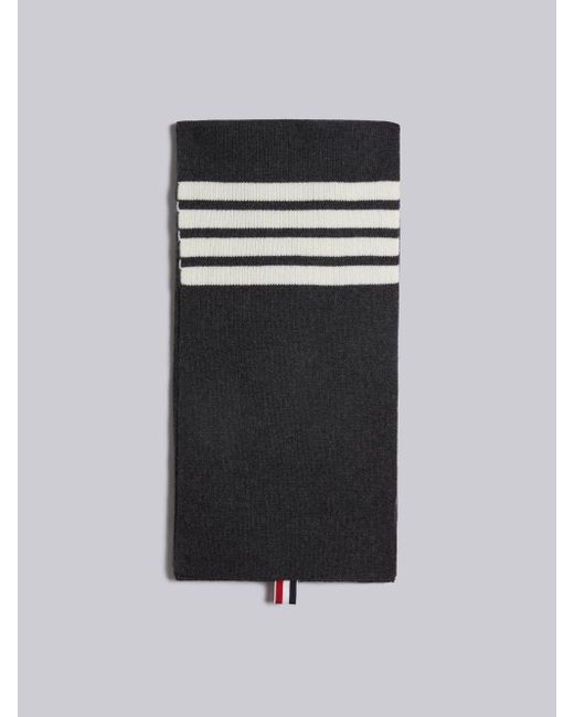 Thom Browne - Gray Full Needle Rib Scarf With White 4-bar Stripe In Cashmere for Men - Lyst