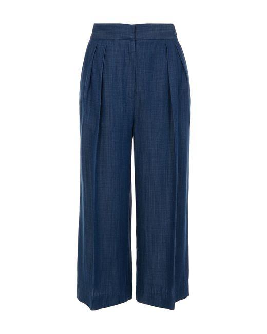 Tibi | Blue Indigo Drape Cropped Pleat Pants | Lyst