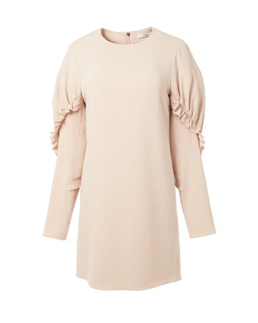 Tibi | Pink Triacetate Short Ruffle Dress | Lyst