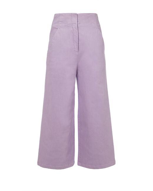 Tibi - Purple Garment Dyed Twill Cropped Wide-leg Jean - Lyst