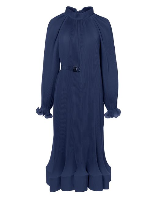 Tibi - Blue Pleated Dress With Removable Belt - Lyst
