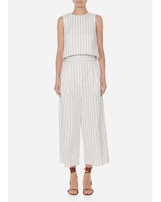 Tibi - White Sateen Stripe Bianca Cropped Pants - Lyst