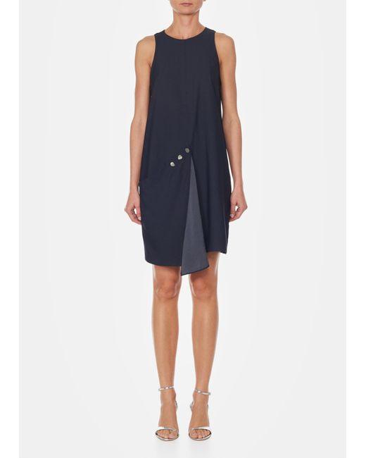 Tibi - Black Sleeveless Asymmetrical Flap Shift Dress - Lyst