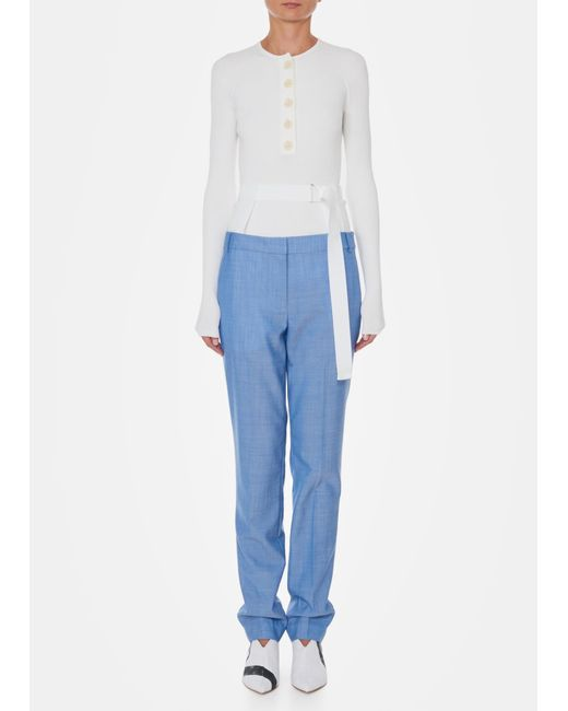Tibi - Blue Serge Suiting Pants With Removable Corset Belt - Lyst