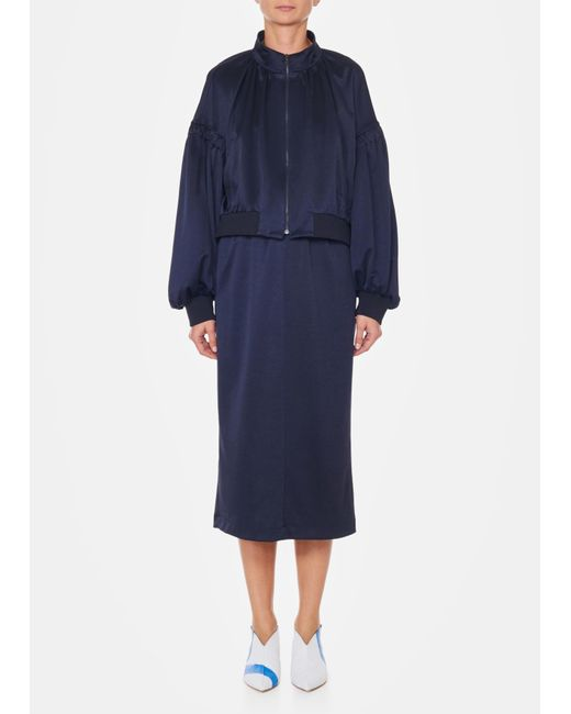 Tibi - Blue Sculpted Pique High Waisted Pull On Skirt - Lyst
