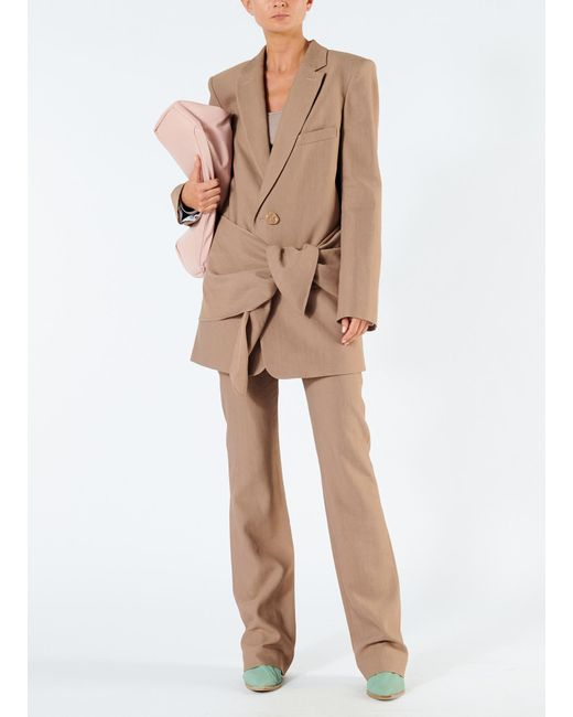 98f5caa8bd7d Tibi - Brown Linen Viscose Long Blazer With Removable Tie - Lyst ...