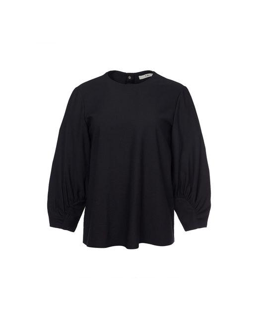 Tibi - Black Shirred Sleeve Top - Lyst