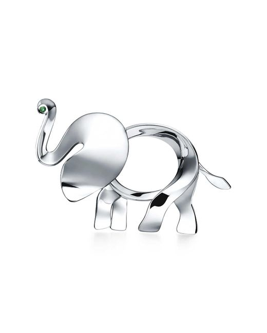 Tiffany & Co   Metallic Tiffany Save The Wild Elephant Brooch In Silver With A Tsavorite, Extra Large   Lyst