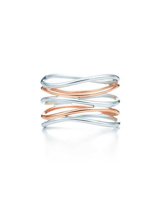 Tiffany & Co - Metallic Wave Five-row Ring - Lyst