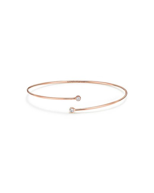 Tiffany & Co - Metallic Diamond Hoop Bangle - Lyst