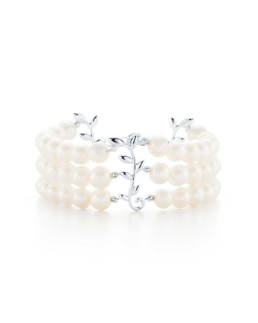Tiffany & Co | Green Paloma Picasso. Olive Leaf Three-row Pearl Bracelet In Sterling Silver | Lyst