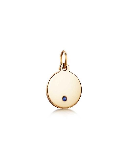 Tiffany & Co - Metallic Tiffany Charms Round Tag In 18k Gold With A Sapphire, Mini - Lyst