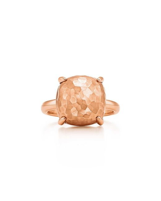 Tiffany & Co - Pink Hammered Ring - Lyst