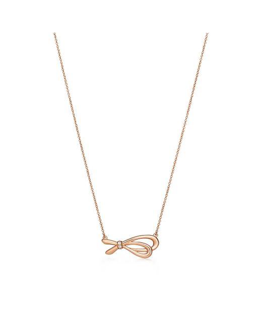 Tiffany & Co - Metallic Tiffany Bow Pendant In 18k Rose Gold With Diamonds - Lyst