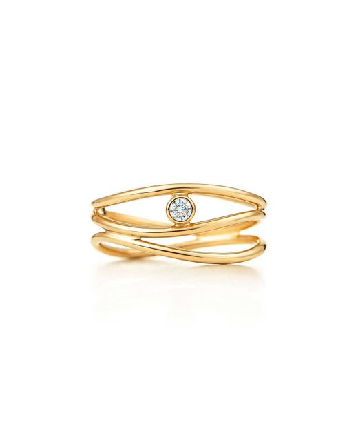 Tiffany & Co - Metallic Wave Three-row Diamond Ring - Lyst
