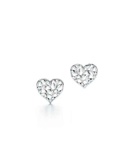 Tiffany & Co - Green Paloma Picasso® Olive Leaf Heart Earrings In Sterling Silver - Lyst