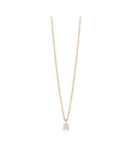Tiffany & Co - Metallic Tiffany Solitaire Diamond Pendant In 18k Rose Gold - Size .12 - Lyst