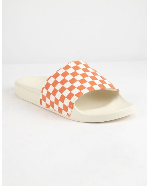 f0037ac2e356 Vans - Multicolor Checkered Rust Womens Slide Sandals - Lyst ...