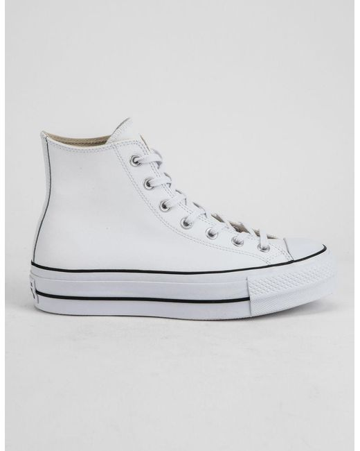 164b62bf6a55 ... cheapest converse chuck taylor all star lift faux leather white womens  high top shoes lyst 2f9d9