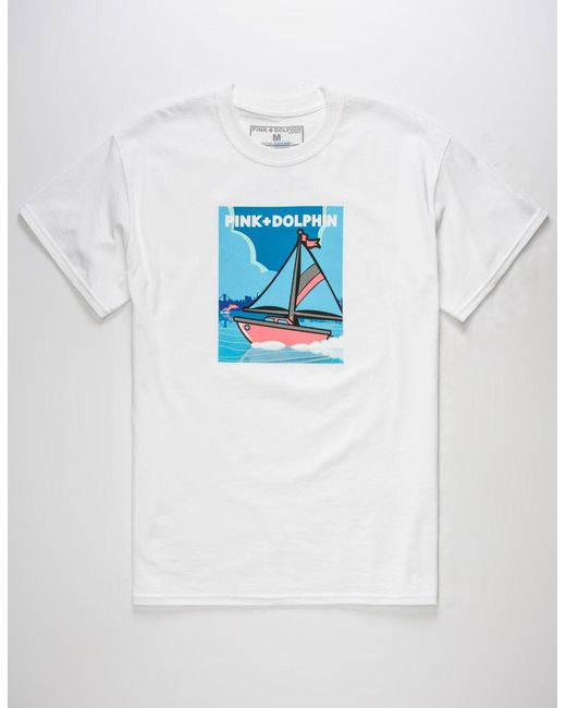 Pink Dolphin - White Travel Portrait Mens T-Shirt for Men - Lyst