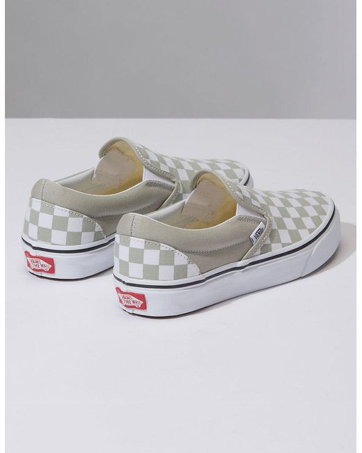 b883b623d56e18 ... Vans - Multicolor Checkerboard Classic Slip-on Desert Sage Womens Shoes  - Lyst ...