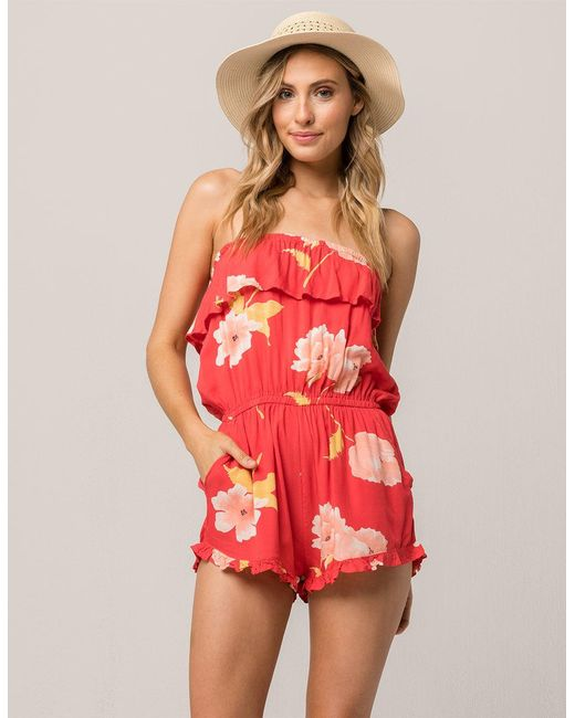 Billabong - Red Pocket Flower Womens Romper - Lyst