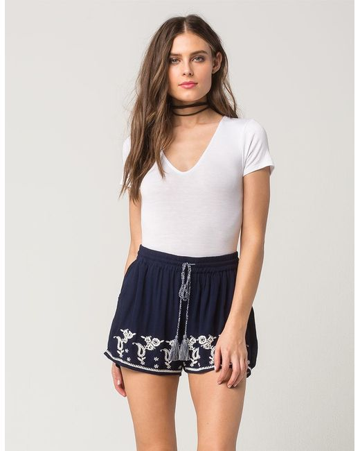 Patrons Of Peace | Blue Embroidered Border Womens Shorts | Lyst