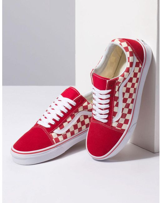 84419034536288 Lyst - Vans Primary Check Old Skool Racing Red   White Shoes in Red ...