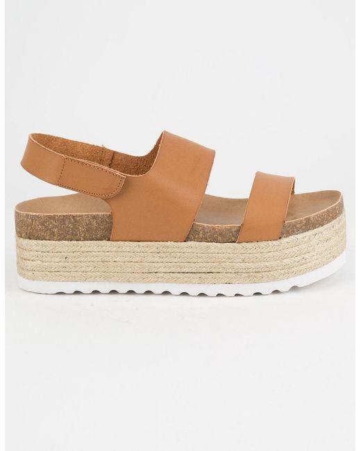 361fa5530 ... Dirty Laundry - Brown Peyton Espadrille Cognac Womens Velcro Platform  Sandals - Lyst ...