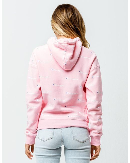 9c442256f446 ... Champion - Pink Reverse Weave Allover Logo Womens Hoodie - Lyst ...