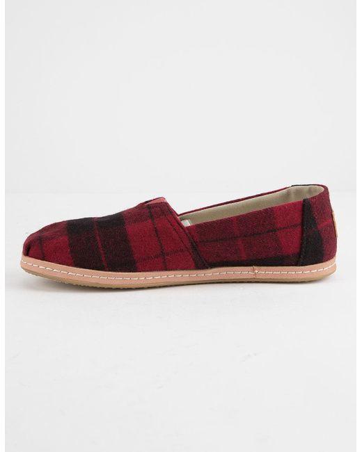 b9b7b503b43 ... TOMS - Red Felt Plaid Womens Classic Slip-on Shoes - Lyst ...
